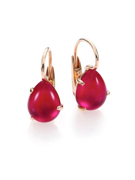 pomellato earrings lyst pomellato teardrop earrings in pink