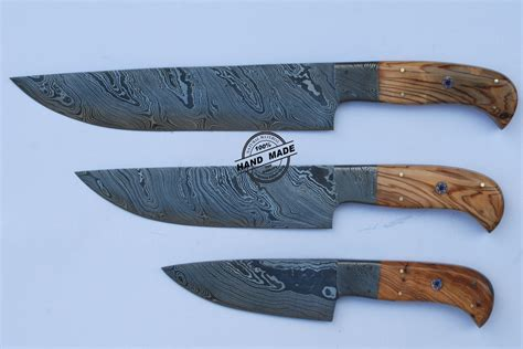 made kitchen knives lot of 3 pcs professional chef knife custom handmade damascus