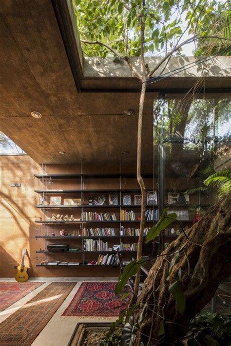 bohemian home library ideas  nature surroundings