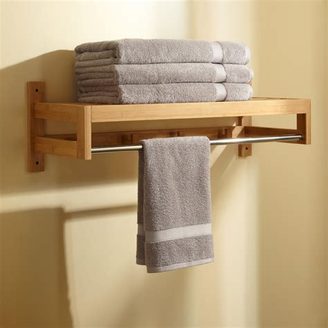 pathein bamboo towel rack  hooks bathroom