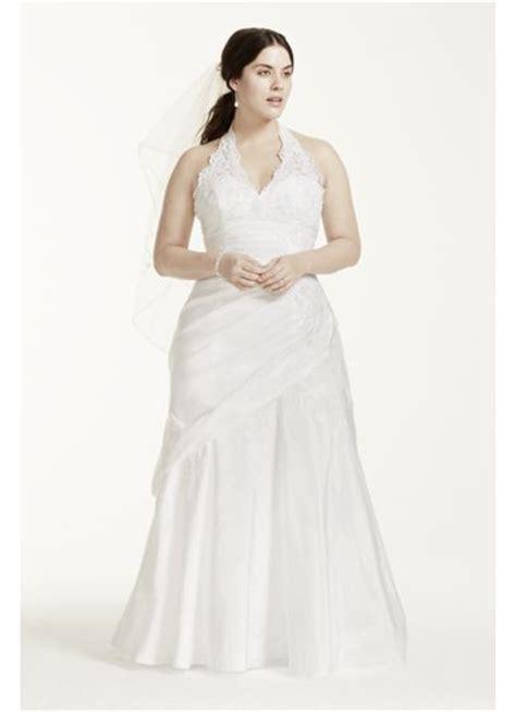 taffeta lace halter    size wedding dress david