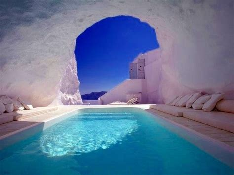 Natural Pool Santorini Greece Wanderlust Pinterest