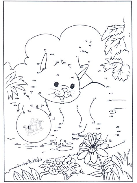 connect  dots cat  number picture