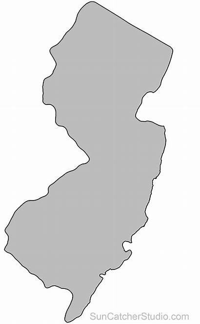 Jersey Map Outline State Shape Printable Stencil
