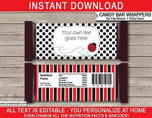 templates for candy bar wrappers - ladybug hershey candy bar wrappers personalized candy bars