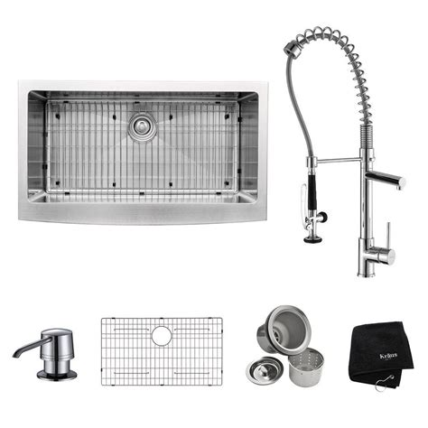 all in one sink kraus all in one farmhouse apron front stainless steel 36