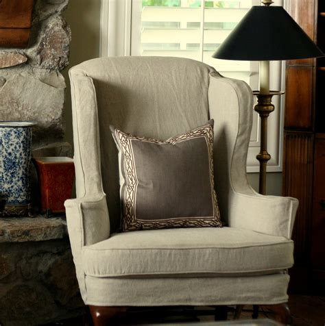 bedroom gray fabric wingback chair cover with length skirt with wing slipcover plus cotton