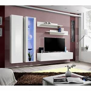 meuble de salon tv suspendu flix a4 moderne 260 cm blanc With meubles de salon moderne