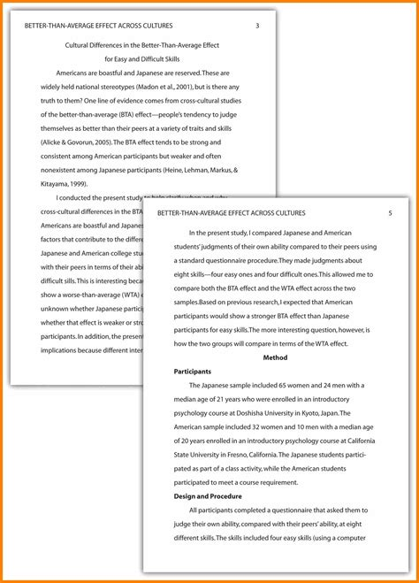 Apa Psychology Paper Exles by Apa Style Written Essay How To Format Academic Paper In