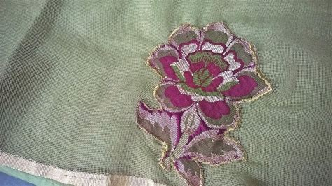 hand embroidery designs applique work  net cloth