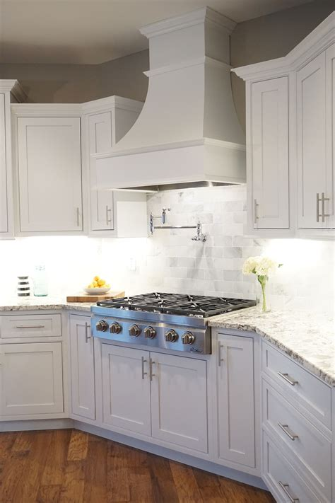 kitchen cabinet hoods white shaker cabinets decorative range inset 2546