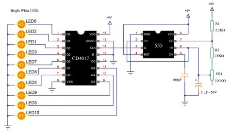 led light chaser circuit diagram led knight rider circuit led running light led chaser