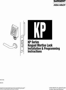Sargent Kp8200 Keypad Mortise Lock Programming