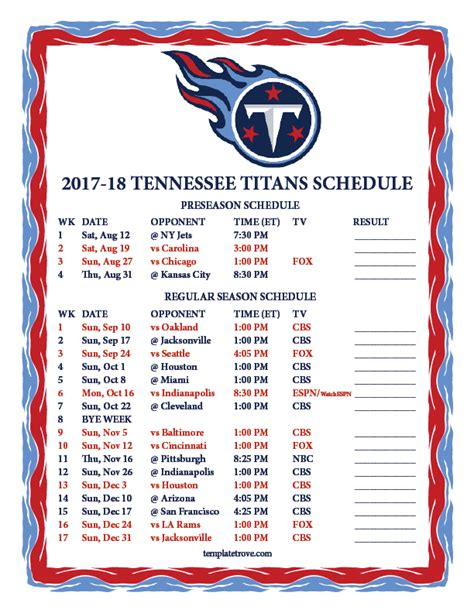 printable tennessee titans schedule