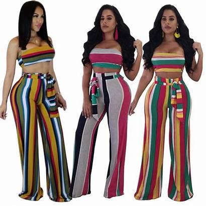 Piece Outfits Summer Crop Pants Suit Striped