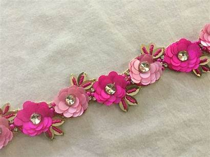 Floral Trim Dimensional Embroidered Beads Glass