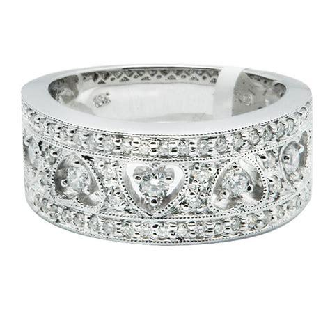 wide  white gold pave filigree diamond heart wedding