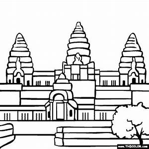Angkor Wat Hindu Temple Cambodia Coloring Page | History ...