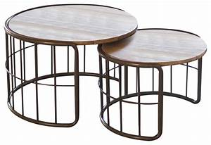 nesting round coffee tables with slat wood top and metal With wood and metal coffee table sets