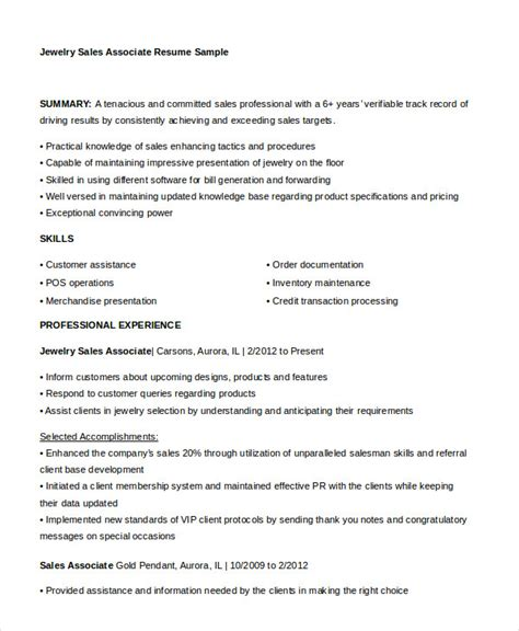 Sales Associate Resume Sles by Sales Associate Resume 7 Free Sle Exle Format Free Premium Templates