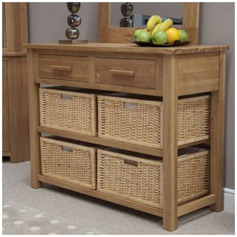 sofa table with baskets nero solid oak furniture basket console table with felt pads ebay