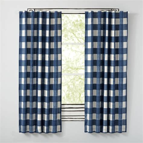 Land Of Nod Blackout Curtains by 84 Quot Buffalo Check Blue Blackout Curtains The Land Of Nod