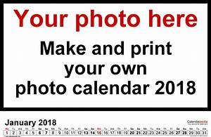 photo calendar 2018 free printable pdf templates With create my own calendar template