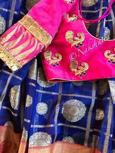 Color Blouse Design Images Navy Blue And Pink Combo Checks Organza Saree Paired With