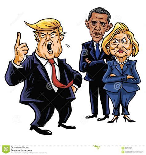 donald trump hillary clinton  barack obama cartoon