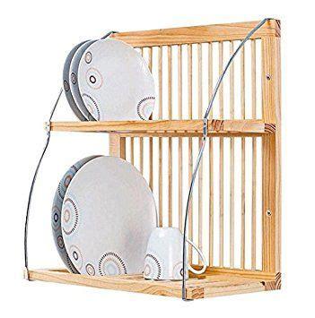 strong attractive wood metal wall mountable plate mug rack   dcm holds upto