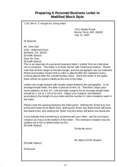 personal business letter 6 personal business letter sles sle templates 25464