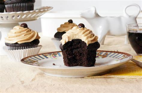 Rich, chocolatey and moist cupcakes, perfect with tea or even more coffee. The Dormestic Goddess: Dark Chocolate Coffee Cupcakes with Marshmallow Coffee Buttercream