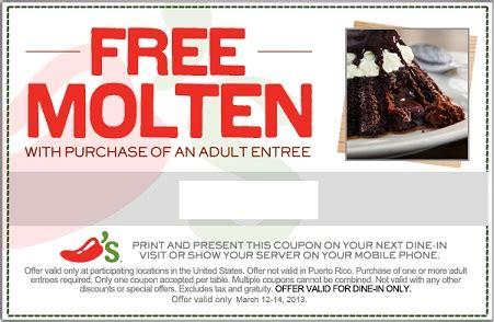 31753 Free Dessert Coupon Chilis by Free Molten Cake At Chili S Coupon Addictedtosaving