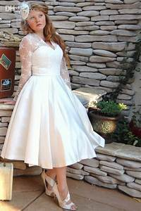 vintage style long sleeve tea length lace plus size With plus size wedding dresses with sleeves tea length