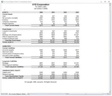 proforma income statement proforma income template