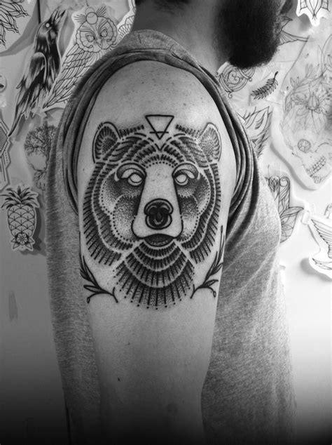 Symmetrical Dotwork Bear Arm Tattoo | Amazing Tattoo Ideas