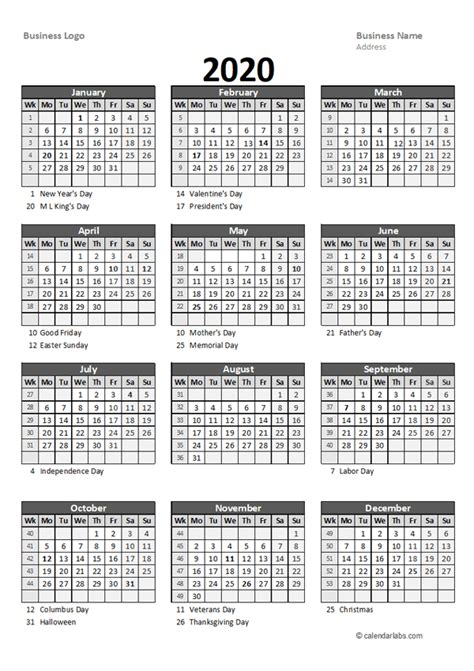 2020 Yearly Business Calendar with Week Number - Free ...