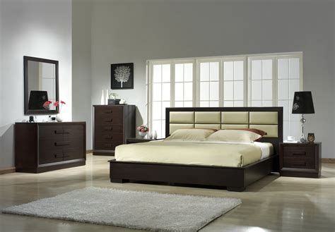 Black Wooden Iron Bed Frame With Leather Headboard Next To