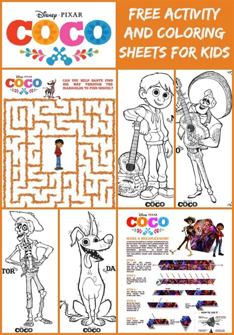 coco activity sheets and more disney coloring pages for