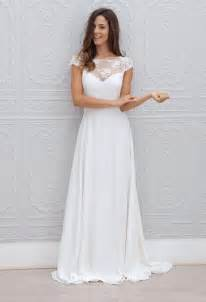 bridesmaid dress with sleeves a line keyhole back cap sleeves ivory chiffon lace wedding dress groupdress