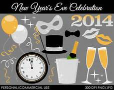 New Year s Eve Celebration Clipart Digital Clip by MareeTruelove  New Years Eve Clock Clip Art