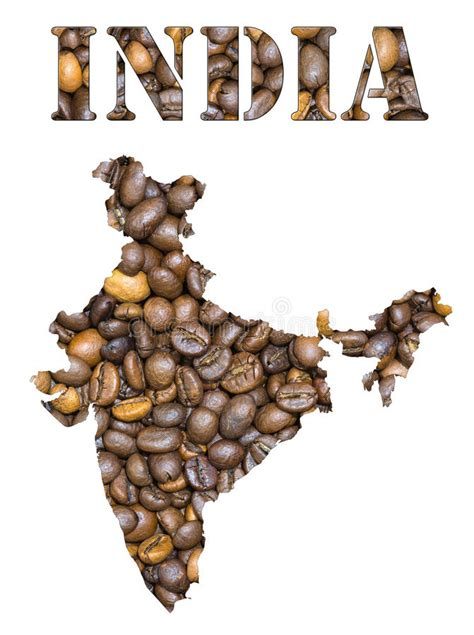 Please select suitable option from the list below. India Word And Country Map Shaped With Coffee Beans ...