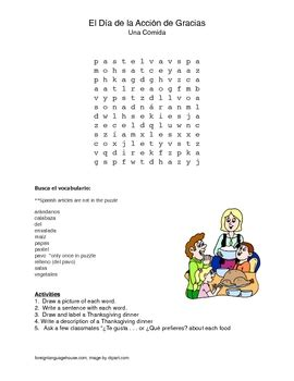 spanish thanksgiving word search by cf language content and ef supports