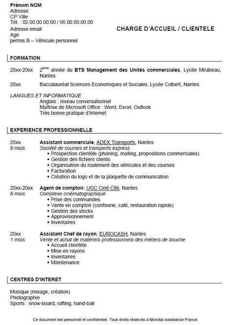 Exemple De Cv Pour étudiant by Resume Format Lettre De Motivation Cv Etudiant