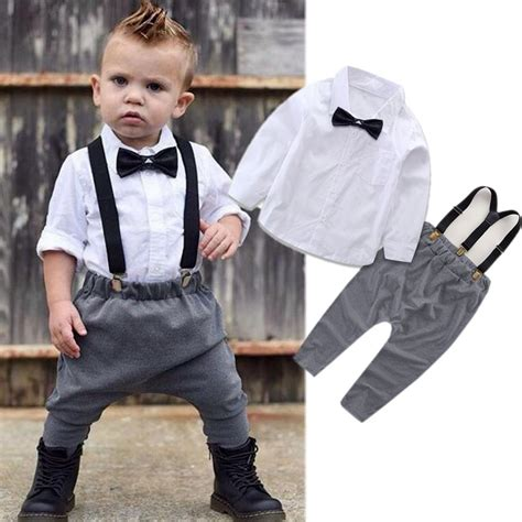 Baby Boy Clothes Set Outfits Long Sleeve Shirt Tops Pants Overalls Kids Gentleman Clothing Baby ...