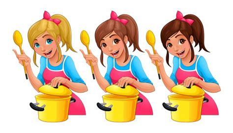 cuisine dessin animé fille avec une cuillère cuisine trois personnages de