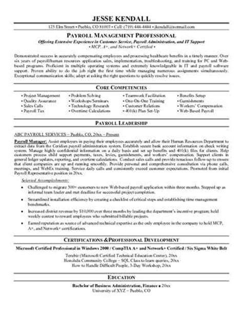 Payroll Coordinator Resume Objective by Payroll Manager Resume Objective