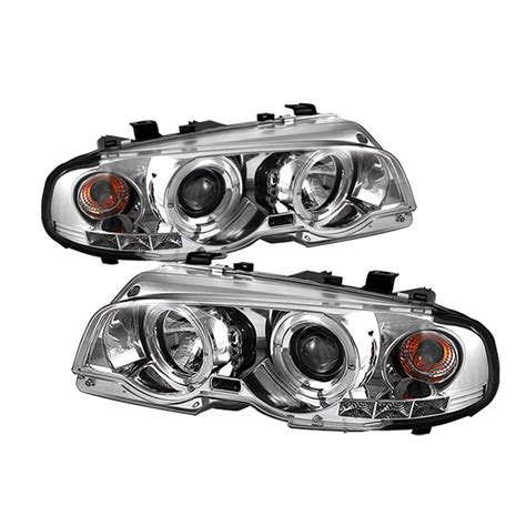spyder chrome projector led halo headlights for 2000 2003