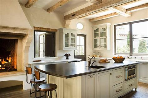 kitchen  rustic fireplace transitional kitchen