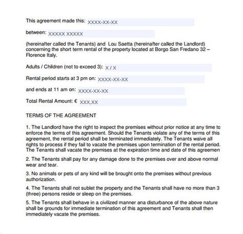 sample short term rental agreement    word